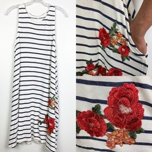Socialite Striped Dress Pockets Embroidered Floral